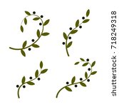isolated olive branch logo set. ... | Shutterstock . vector #718249318