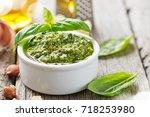 pesto sauce. | Shutterstock . vector #718253980