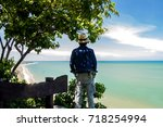 man traveler with backpack and...   Shutterstock . vector #718254994