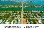 venetian islands  miami beach ...   Shutterstock . vector #718256194
