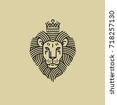 royal lion in the style of... | Shutterstock .eps vector #718257130