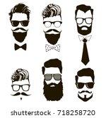 set of vector bearded men faces ...   Shutterstock .eps vector #718258720