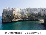 polignano a mare view  apulia ...   Shutterstock . vector #718259434