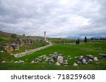 remains of ancient city and... | Shutterstock . vector #718259608