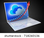3d illustration of laptop over... | Shutterstock . vector #718260136