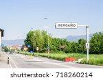 road in italian city bergamo   Shutterstock . vector #718260214