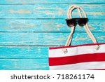 summer holiday background with...   Shutterstock . vector #718261174