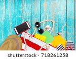 summer holiday background with...   Shutterstock . vector #718261258
