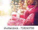 winter holidays  christmas and... | Shutterstock . vector #718263700
