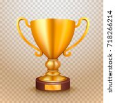 winner cup gold sign. object on ... | Shutterstock .eps vector #718266214