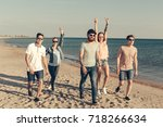group of young people enjoy...   Shutterstock . vector #718266634