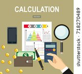 calculation concept.... | Shutterstock . vector #718270489