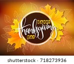 vector thanksgiving greeting... | Shutterstock .eps vector #718273936