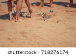 people playing bocce sport with ... | Shutterstock . vector #718276174