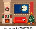 festive christmas interior of... | Shutterstock .eps vector #718277890