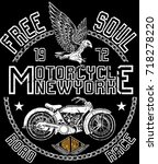 vintage motorcycle. hand drawn... | Shutterstock .eps vector #718278220