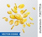gold coin rain of luck on... | Shutterstock .eps vector #718279516