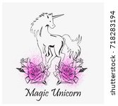 magic unicorns and roses.... | Shutterstock .eps vector #718283194