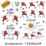set of hand drawn ink deers... | Shutterstock .eps vector #718286149