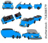 car in different views   | Shutterstock .eps vector #718288579