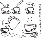 how to make instant coffee... | Shutterstock .eps vector #718288759