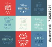 christmas cards set | Shutterstock .eps vector #718289284
