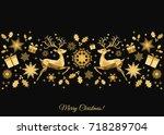 christmas  background. golden... | Shutterstock .eps vector #718289704