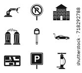 lack of parking icons set.... | Shutterstock .eps vector #718292788
