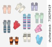 set of knitted gloves sketches  ... | Shutterstock .eps vector #718295419