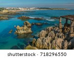 the port city of santander ... | Shutterstock . vector #718296550