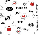 pop up girly seamless pattern | Shutterstock .eps vector #718299799