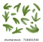 set of fir branches. christmas... | Shutterstock .eps vector #718301530