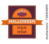 poster for halloween with a... | Shutterstock .eps vector #718304890