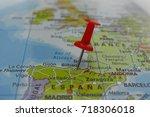 pin marked bilbao  city of spain | Shutterstock . vector #718306018