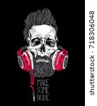 skull with a hairstyle  beard ... | Shutterstock .eps vector #718306048