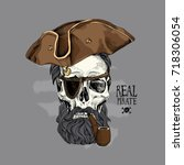 skull with a hairstyle  beard ... | Shutterstock .eps vector #718306054
