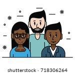 young friends cartoons | Shutterstock .eps vector #718306264
