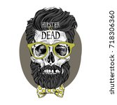 skull with a hairstyle  beard ... | Shutterstock .eps vector #718306360