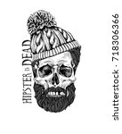 skull with a hairstyle  beard ... | Shutterstock .eps vector #718306366