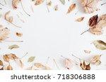 frame made of dry autumn leaves....   Shutterstock . vector #718306888