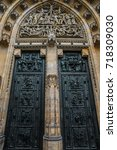 st. vita s cathedral details in ... | Shutterstock . vector #718309030