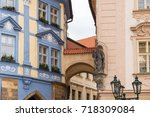 prague architecture  beautiful... | Shutterstock . vector #718309084