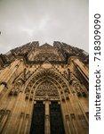 st. vita s cathedral in prague... | Shutterstock . vector #718309090