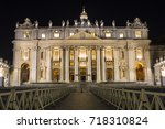 at night on st. peter's square... | Shutterstock . vector #718310824