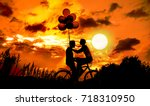 silhouette of two beautiful... | Shutterstock . vector #718310950