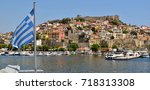 landscape of seaside town of... | Shutterstock . vector #718313308