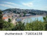 ulcinj coast with crowded beach ... | Shutterstock . vector #718316158