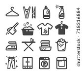 laundry icon set | Shutterstock .eps vector #718316884