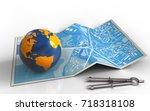 3d illustration of city map... | Shutterstock . vector #718318108
