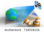 3d illustration of map with... | Shutterstock . vector #718318126